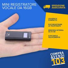MINI REGISTRATORE DIGITALE 16 GB VOCALE GIORNALISTA SPIA VOX SCUOLA UNIVERSITA