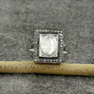 Natural Rose Cut Polki Pave Diamond Ring,925 Sterling Silver,Wedding ring,Gift