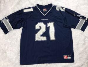 Vintage Nike Dallas Cowboys Deion Sanders #21 NFL Jersey Mens Size L Large Blue