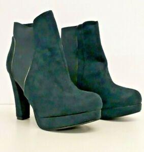 Women Ladies Red Herring teal faux suede boots