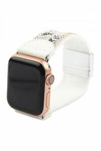 White Faux Leather Snake Skin Animal Print Apple Watch Band Rhinestone Acc