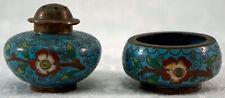Lovely Old Cloisonne Salt Shaker and Miniature Bowl Set Blue with Flower Motif
