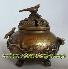 china antique style! Rare Vintage Tibet Copper bird Incense Burner Censer