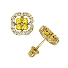 Brilliant Halo Citrine Squircle Shape Stud Earrings 14K Yellow Gold