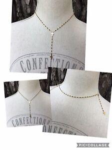 Collier Chapelet  2 Croix Perles Résine Noires Acier Inoxydable Or Ref Gigi3 New