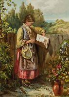 A. MEYER, Mädchen am Zaun lesend, 1869, Aquarell