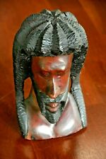 Rasta man wood head sculpture