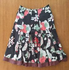 WHITE STUFF Navy Blue Green Pink Floral Cotton Panelled Lined Calf Dress UK10