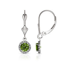 1.25CTW Round Halo Peridot Drop Dangle Leverback Earrings 14K White Gold