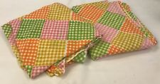 Vintage Sheet Set Twin Gingham Patchwork Girl's Pink Green Yellow Orange Yellow