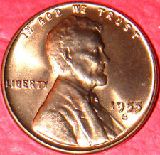 1955 S LINCOLN WHEAT CENT CHOICE RED GEM BRILLIANT UNCIRCULATED