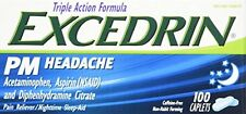 Excedrin PM Headache Pain Reliever Caplets 100 Count Each