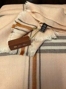 NWT $955 LORO PIANA Cashmere/Silk (70/30) Pink Scarf Striped (82X30 Inches)