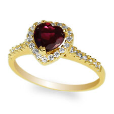 Garnet Cz Halo Ring Size 5-9 Ladies 14k Yellow Gold Solid Heart Shaped