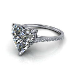 Heart Shape 3.9 Ct Diamond Engagement Rings Solid 14kt White Gold Size H M P N O