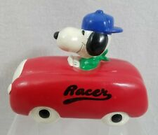 Vintage Composition SNOOPY BANK Driving Racer Car, Made in Korea, 1966