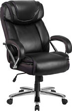 500Lb.Capacity Big & Tall Black Leather Executive Office Chair w/Extra Wide Seat