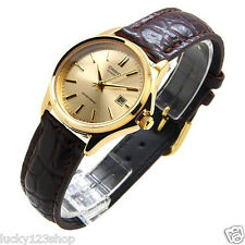 LTP-1183Q-9A Gold Casio Ladies Watches Genuine Leather Band Date Display Analog