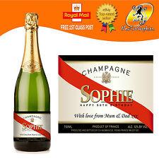 CHAMPAGNE Personalizzata Bottiglia Etichetta Compleanno Anniversario Nozze Natale