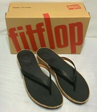 FitFlop Linny Toe-Thong Sandals Leather Black Women Shoes Size 7 8 10 11 NIB