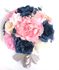 17 piece package Wedding Bouquets Bridal Silk Flower Light PINK Navy Blue SILVER