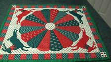 """New listing 6 New Christmas Quilted Placemats Red & Green Deer Pattern 14"""" x 17"""""""