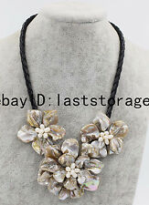 """shell flower white freshwater pearl necklace 18"""" handcraft nature wholesale bead"""