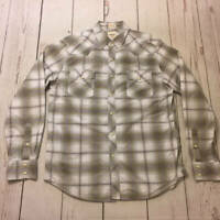 Mens Fossil Western Pearl Snap Gray White Plaid Long Sleeve Shirt Size Large