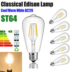4W 6W 8W E27 LED Edison Filament Lamp Bulb ST64 Energy light lamp AC220V