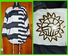 Vtg 80s LOUIS FERAUD Stripe 100% Cotton Gold Logo Pin Brooch Jacket Coat  M/L/XL
