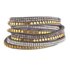Lux Accessories Grey Gold Tone Bead Hem Crystal Double Row Suede Wrap Bracelet