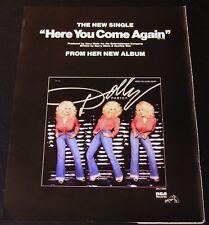 Dolly Parton - Original 1977 Here You Come Again 14.5 x 11 Color Ad/Poster!