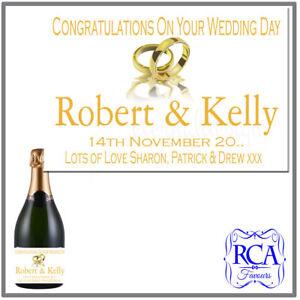 Single Personalised Wedding Day Sticker / Bottle Labels champagne style bottle