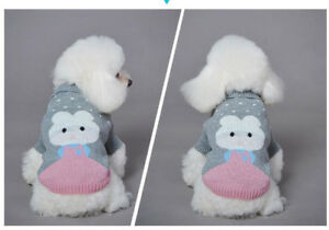 Dog Puppy Soft Sweater For Small Breeds - Gray and Pink - Medium, Large, XL