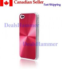 Metallic 3D Premium Hard Case For iPhone 4 + Film RED ROSE SHIP FROM CANADA