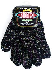 Fun Iridescent Sparkly Black One Size Fits All Mittens, Magic Stretch Gloves