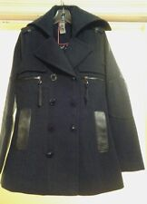 NEW RUD by RUDSAK WOMEN DOUBLE BREASTED COAT LEATHER TRIM NAVY BLUE SZ XS $ 300