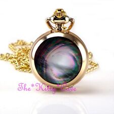 Pocket Steampunk Necklace Fob Watch Miniature Gold Northern Lights Abalone Shell
