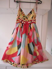 RARE TSUBI KSUBI Mirrored Multi Coloured Cotton Print Dress Size Small 6