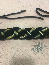 Vintage Belt Gold Black Macrame Rope Pearls Adjustable 80s