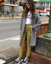 SOLD OUT ZARA OLIVIA PALERMO BLACK YELLOW CHECKED TROUSERS 2346/719 SIZE L LARGE