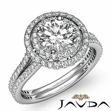 2 Row Halo Pave Round Diamond Engagement Ring GIA F SI1 14k White Gold 2.55ct