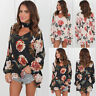 Fashion Womens Ladies Summer V Neck Long Sleeve Floral T-Shirt Tops Loose Blouse