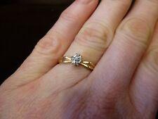Classic 10k 10carat GOLD American 5 tiny diamond cluster ring modernist sz L 5.5