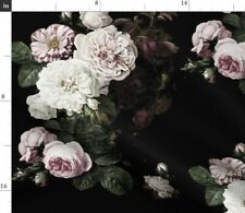 Vintage Roses Scale Dark Floral Black Large Spoonflower Fabric by the Yard
