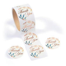 100 Beautiful THANK YOU Stickers w/ flowers BIRTHDAY PARTY wedding BABY SHOWER