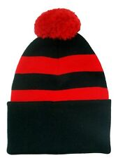 Black and Red Traditional Style Bobble Hat - Made in the UK