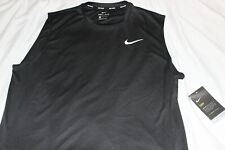 Nike Men's Black Dri-Fit Swoosh Logo Swim Tank Top UPF40 NWT Size L,XL