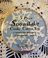 5 Piece Snowflake Cookie Cutter Set Stainless Steel Holiday Decorating Baking