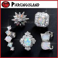 Opal Gem Diamond Silver Ear Cartilage Helix Stud Ring Piercing Climber Earring